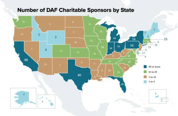 donor advised funds sponsoring organizations by state